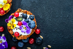 Dessert with sunflower seeds, yogurt and fresh berries Stock Photography