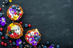 Dessert with sunflower seeds, yogurt and fresh berries Stock Images