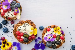 Dessert with sunflower seeds, yogurt and fresh berries Royalty Free Stock Photo
