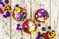 Dessert with sunflower seeds, yogurt and fresh berries Stock Image