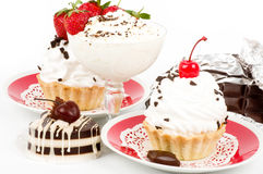 Dessert - sweet cake with strawberry Stock Images