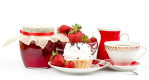 Dessert - sweet cake with strawberry and cherry Stock Images