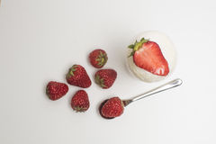 Dessert - sweet cake with strawberry on the white background. Dessert - sweet cake with strawberry and white background Stock Photo