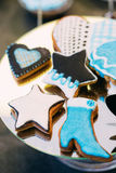 Dessert Sweet Cookies in shape of a star and a boot in Candy Bar Royalty Free Stock Images