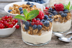 Dessert with sweet cream, fresh berries and granola, closeup. Horizontal Royalty Free Stock Photography