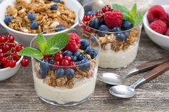 Dessert with sweet cream, fresh berries and granola. On wooden background, closeup, horizontal Stock Photo