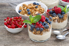 Dessert with sweet cream, fresh berries and granola. Horizontal Stock Photos