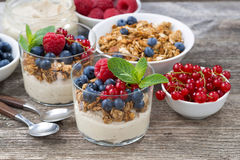 Dessert with sweet cream, fresh berries and granola, top view. Horizontal Stock Photography