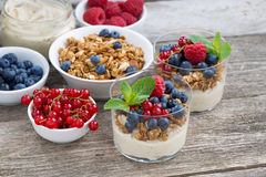 Dessert with sweet cream, fresh berries and granola. On wooden background, top view Stock Image