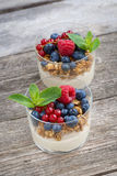 Dessert with sweet cream, fresh berries and granola Stock Images