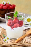 Dessert sweet cream with raspberrie Royalty Free Stock Images