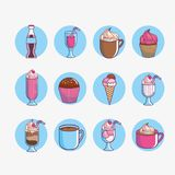 Dessert and sweet food design. Icon set of dessert and sweet food theme Vector illustration Royalty Free Stock Photography