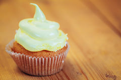 Dessert Sweet Gourmet Cupcake On Wooden Background Royalty Free Stock Images