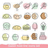 Dessert and sweet icon set Royalty Free Stock Photo