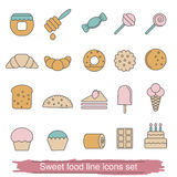 Dessert and sweet icon set Stock Images