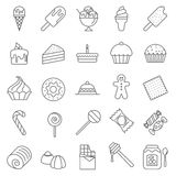 Dessert and Sweet icons. Thin line Dessert and Sweet vector icon set Royalty Free Stock Images