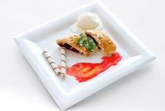 Dessert with sweet pie, ice cream Royalty Free Stock Photos