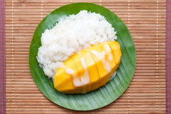 Dessert sweet sticky rice with mango coconut milk Stock Photo