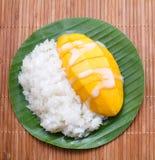 Dessert sweet sticky rice with mango coconut milk Stock Photos