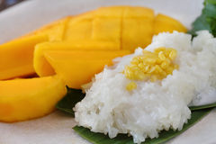 Dessert sweet sticky rice with mango coconut milk,Thai Food. Royalty Free Stock Photo