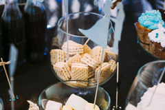 Dessert Sweet Wafers in Candy Bar. Sweet buffet on birthday or w Stock Photo