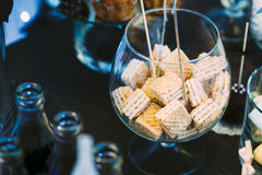 Dessert Sweet Wafers and sodas in bottles in Candy Bar. Sweet bu Royalty Free Stock Images