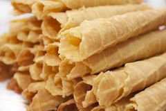 Dessert - sweet yellow wafers Royalty Free Stock Images