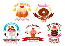 Dessert sweets, ice cream vector bakery icons set Royalty Free Stock Photos
