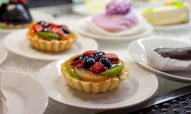 Dessert sweets in self service restaurant. Shallow focus Stock Photography