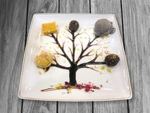 Dessert with syrup tree drawing. On wood background royalty free stock images