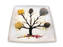 Dessert with syrup tree drawing. On white background royalty free stock photos