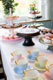 Dessert table. Pink dessert table coups sweets Stock Images
