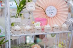 Dessert table for birthday or wedding. Birthday party table setting with food and Cake Stock Photography