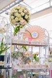 Dessert table for birthday or wedding. Birthday party table setting with food and Cake Stock Images