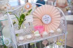 Dessert table for birthday or wedding Stock Images