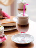 Dessert on a table in cafe. Sweet dessert on a table in cafe Stock Photos