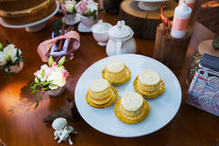 Dessert table with cakes. Decorated for a outdoor party Royalty Free Stock Photos