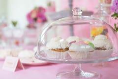 Dessert table cakes muffin. Dessert table decoration flowers sweats Stock Photo
