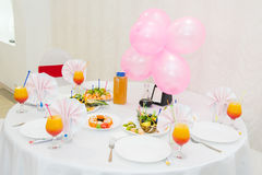 Dessert table with candy on a children's birthday. Celebratory children's table, Royalty Free Stock Image