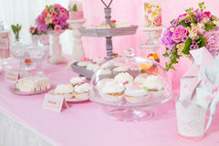 Dessert table decoration flowers. Sweats Royalty Free Stock Images