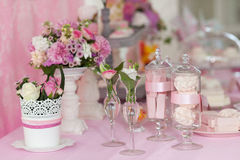 Dessert table decoration flowers sweats. Zephyr Royalty Free Stock Images