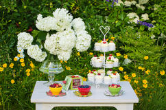 Dessert table in a garden Stock Images