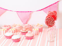 Dessert table at girls birthday party Royalty Free Stock Photo