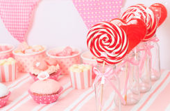 Dessert table at girls birthday party Stock Image