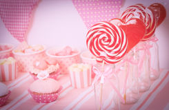 Dessert table at girls birthday party Stock Photo