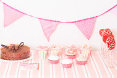 Dessert table at girls birthday party Stock Images