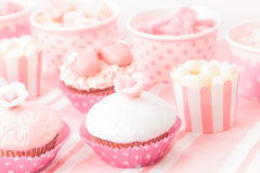 Dessert table at girls birthday party Royalty Free Stock Images
