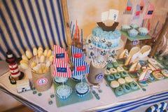 Dessert table in marina style Stock Photos