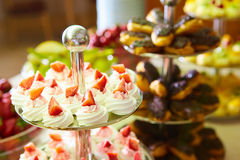 Dessert table for party. akes and sweetness. Shallow dof Royalty Free Stock Image