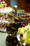 Dessert table for party. akes and sweetness. Shallow dof Stock Images